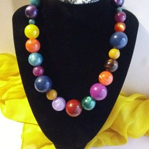 Vintage Multi Colored Bead Necklace